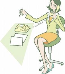 卡通电话美女图片
