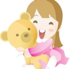 抱玩具熊女孩子图片